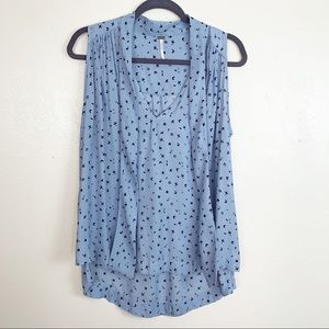 Free people sleeves front tie blue blouse
